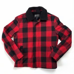 J.Crew buffalo plaid wool blend sherpa mens jacket